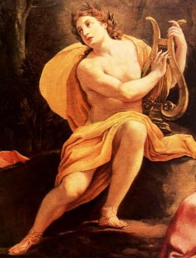 The Greek god Apollo playing the lyre