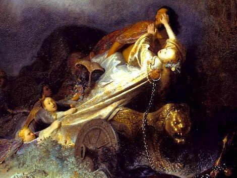 Hades abducting Persephone