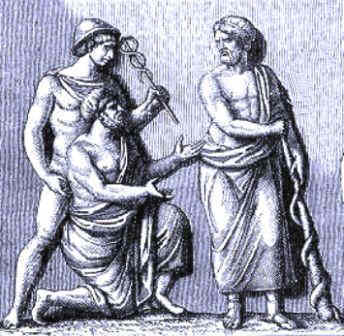 Hermes holding the caduceus and Asclepius the physician with his staff
