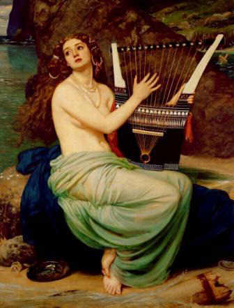 Picture of a siren playing a lyre