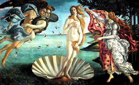Famous picture of the Birth of Venus (Aphrodite) by Botticelli