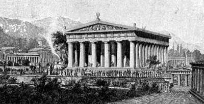 Artist's impression of Zeus Temple at Olympia